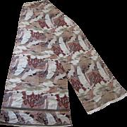 """Vintage Japanese Textile Silk Brocade Obi Kimono Sash w/ Cranes & Waterfall, 24 x 157"""""""