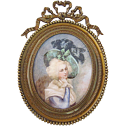 Antique Signed A. Thumerette Miniature Watercolor Portrait of a Woman in Brass Frame