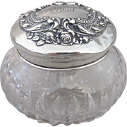Cut Glass Powder Jar with Embossed Simons Brothers Sterling Silver Top