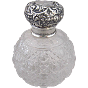 1905 English Cut Glass Cologne Bottle with Birmingham Sterling Silver Embossed Top