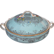 Aynsley English Bone China Blue Scalloped Queen's Garden Covered Vegetable Bowl