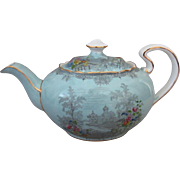 Large Aynsley English Bone China Queen's Garden Blue Scalloped Edge Teapot