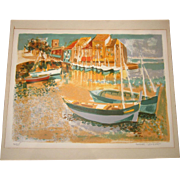 Original Georges Lambert Seaside Harbor Lithograph, Signed and Numbered