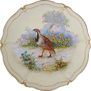 T&V Tressemann & Vogt Limoges Grouse Game Bird Cabinet Plate, Artist Signed Robert