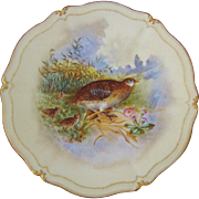 T&V Tressemann & Vogt Limoges Grouse & Young Game Bird Cabinet Plate, Artist Signed Robert
