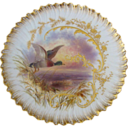 19th Century Cauldon Hand Painted Mallard Game Bird Cabinet Plate signed J. Birbeck Senior
