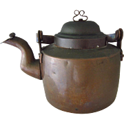 Swedish Copper Kettle with Dovetailed Base and Ribbon Finial Signed CJN