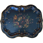"""Vintage Large Artist Signed Hand Painted Tole Tray with Floral Motif, 29""""L"""