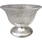 Gorham Sterling Silver Footed Bowl with Hawkes Cut Glass Top