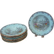 8 Aynsley English Bone China Blue Scalloped Edge Queen's Garden Rimmed Soup Bowls, 7614/1