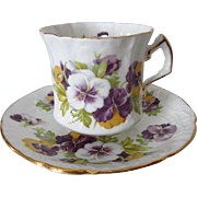 Hammersley & Co. Embossed Pansy English Bone China Cup and Saucer