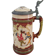 19th C. Villeroy & Boch Mettlach Stein #2184 with Gnomes Dancing and Drinking
