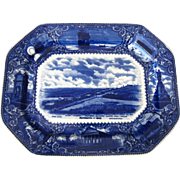 Flow Blue Rowland & Marsellus Staffordshire Platter with Scenes from Plymouth, MA
