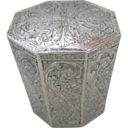 """Antique German 800 Silver Heavily Decorated Tea Caddy, 4-1/2""""H"""