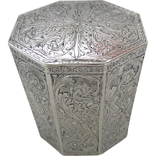 "Antique German 800 Silver Heavily Decorated Tea Caddy, 4-1/2""H"