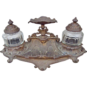 Victorian Art Nouveau Transitional Bronzed Cast Iron Double Inkwell