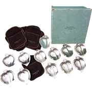 12 Tiffany & Co. Sterling Silver Footed Leaf Butter Pats or Nut Dishes with Box and Covers