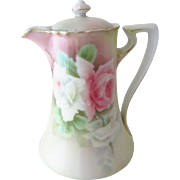 Tirschenreuth PT Bavaria Tea Rose Hand Painted Chocolate or Coffee Pot