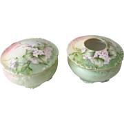 Jean Pouyat JP Limoges Hand Painted Vanity / Dresser Powder Jar and Hair Receiver Set