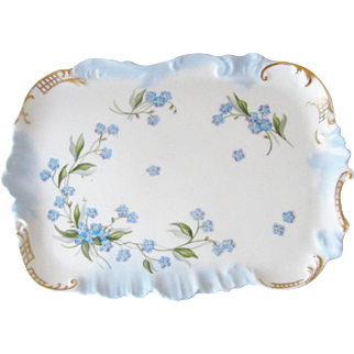 Tressemann and Vogt T&V Limoges Hand Painted Vanity / Dresser Pin Tray with Forget-Me-Nots