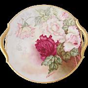 Tressemann & Vogt T&V Limoges Artist Signed Hand Painted Rose Handled Cake Plate