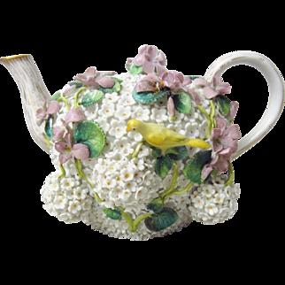 Antique Johansen Roth Meissen Schneeballen Snowball & Bird Teapot