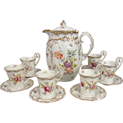 RB Richard Briggs Boston Dresden German Hand Painted Chocolate Pot & Cups Set for 6