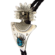Vintage Navajo Signed Sterling Silver and Turquoise 3-D Kachina Doll Bolo Tie