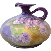 PH Leonard Vienna Austria Count Thun Pitcher with Hand Painted Violets