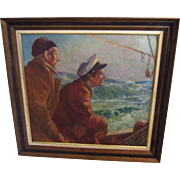 Signed Charles Vermoske Oil Painting Fishing Seascape, Skipper of the Tuna Boat