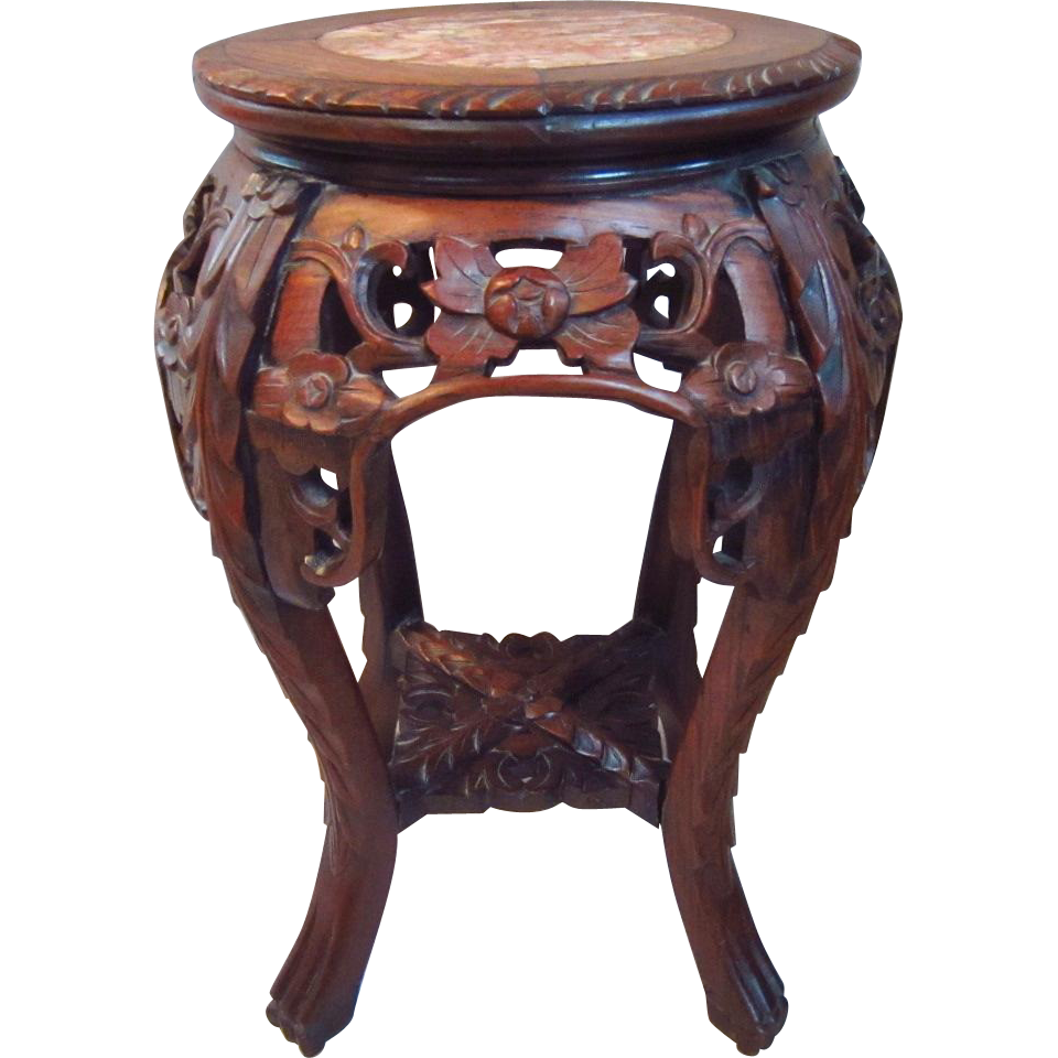 Early 20th c chinese carved rosewood pink marble top for Th 37px60b table top stand