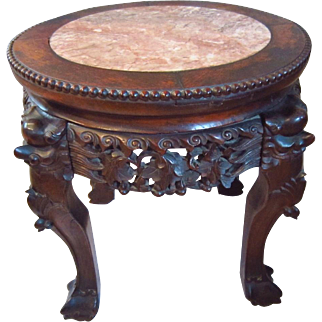 Early 20th C. Chinese Foo Dog Carved Rosewood Marble Top Stand Table