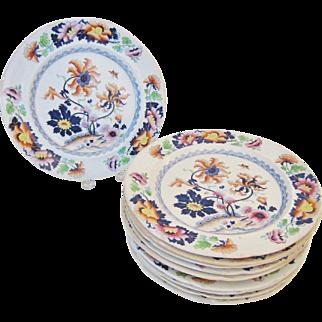 "10 Early 19th C. Stephen Folch Stoke Works Imari Polychrome 9-7/8"" Ironstone Dinner Plates"