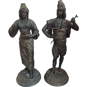 Pair of Louis Hottot French Polychromed Spelter Moorish Arabic Man & Woman Figures