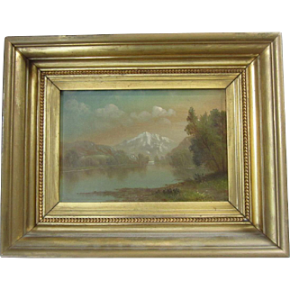 19th C. Daniel Charles Grose Hudson River School Oil Painting Landscape with Mountains