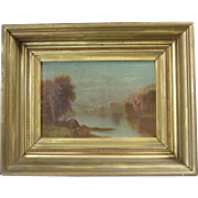 19th C. Daniel Charles Grose Hudson River School Oil Painting Early Autumn Landscape