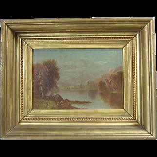 19th C. Daniel Charles Grose Hudson River School Oil Painting Early Autumn Landscape