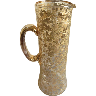 """Antique Moser Blown Art Glass Pitcher with Enamel and Gilt Floral Detail, 11""""H"""
