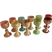 "10 Moser Bohemian Art Glass Wine Glasses with Gilt and Enamel Detail, 5-1/2""H"