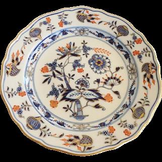 """Antique Meissen Blue Onion Polychrome Plate, 8-1/4""""H"""