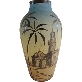 Signed H Martin French Art Glass Hand Painted Vase with Middle Eastern Scenes