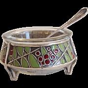 Antique Russian Iommet Art Deco Enamel Footed Open Salt with Spoon
