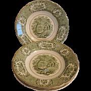 4 Antique Ridgways Oriental Pattern Transferware Green & White Rimmed Soup Bowls