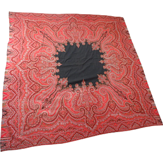 Antique Woven Wool Paisley Kashmir Shawl with Black Center