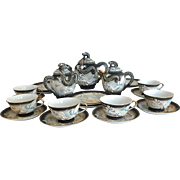 Japanese Moriage Dragonware Tea Set For Six with Teapot, Sugar, and Creamer