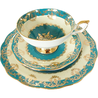Royal Standard Teal English Bone China Cup, Saucer, & Plate Trio with Gold Trim