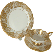 Royal Stafford Golden Bouquet English Bone China Cup, Saucer & Plate Trio