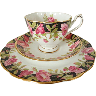 Queen Anne Black Magic English Bone China Cup, Saucer, & Plate Trio with Pink Roses