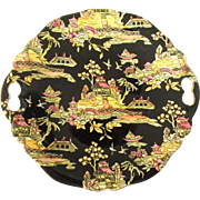 Royal Winton Grimwades Pekin Pattern Hand Painted Handled Cake Serving Plate in Black