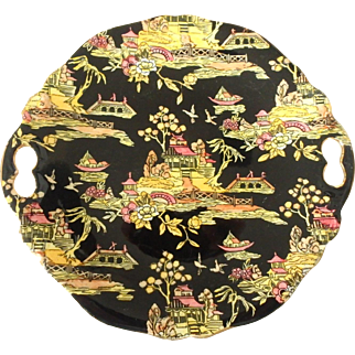 Royal Winton Grimwades Pekin Pattern Hand Painted Handled Cake Serving Plate in Black